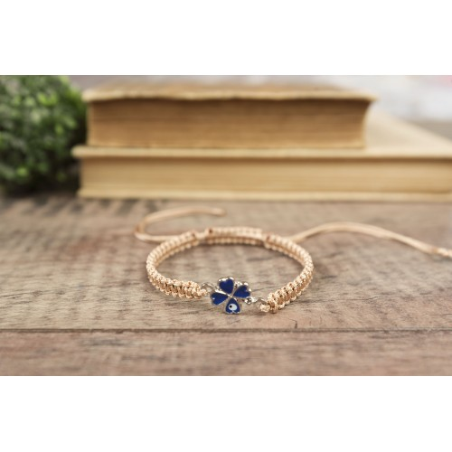 Evil Eye Bracelet. Four Leaf Clover Macrame Bracelet