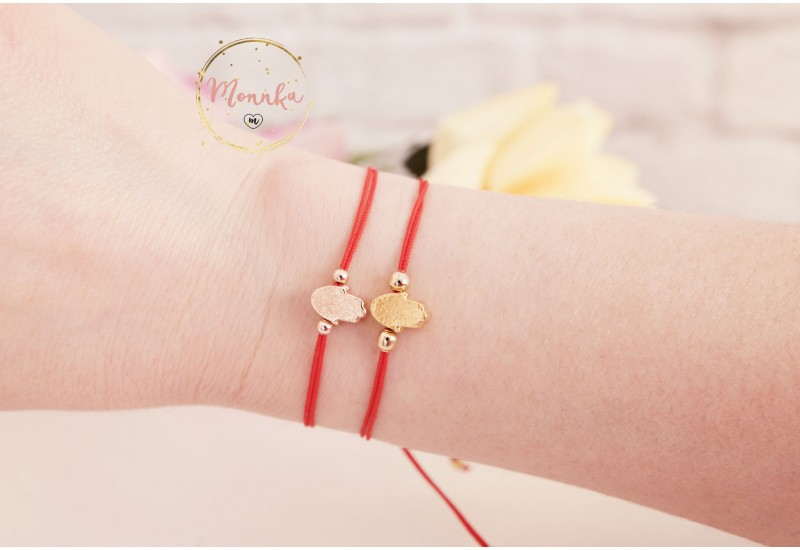 Hamsa Red String Bracelet , Gold Hamsa Hand