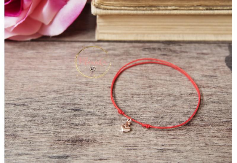 Red String Bracelet, Tiny Heart Bracelet