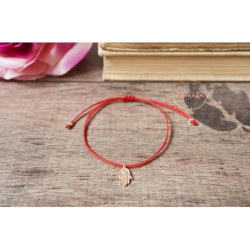 Red String Bracelet, 14k Rose Gold Plated Hamsa Hand Bracelet