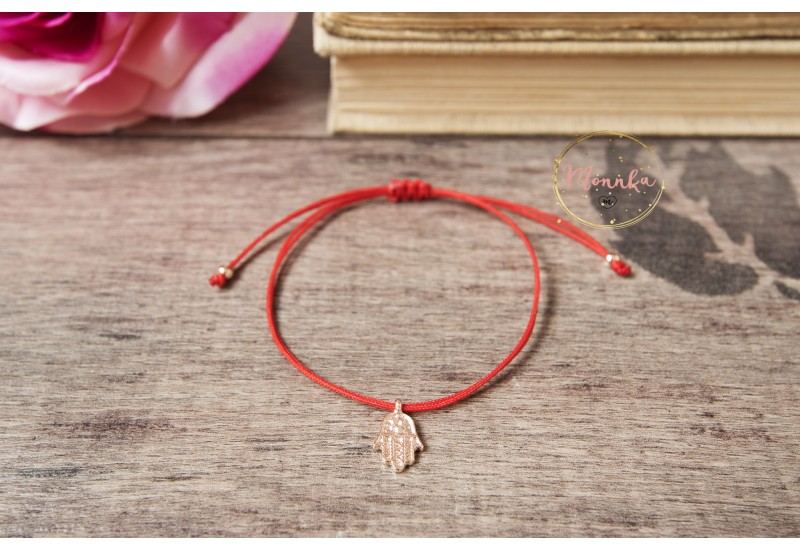Red String Bracelet, 14k Rose Gold Plated Hamsa Hand Bracelet