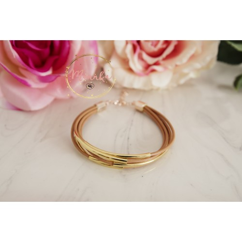 Tube Bracelet. Nude Leather Cuff. Multi Strand  Gold Tube Bangle Wrap Bracelet