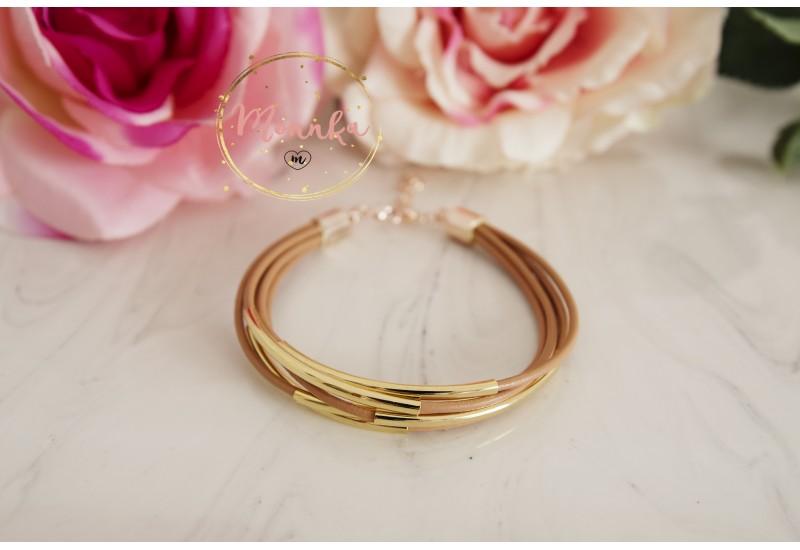 Tube Bracelet. Nude Leather Cuff. Multi Strand  Gold Tube Bangle Wrap Bracelet