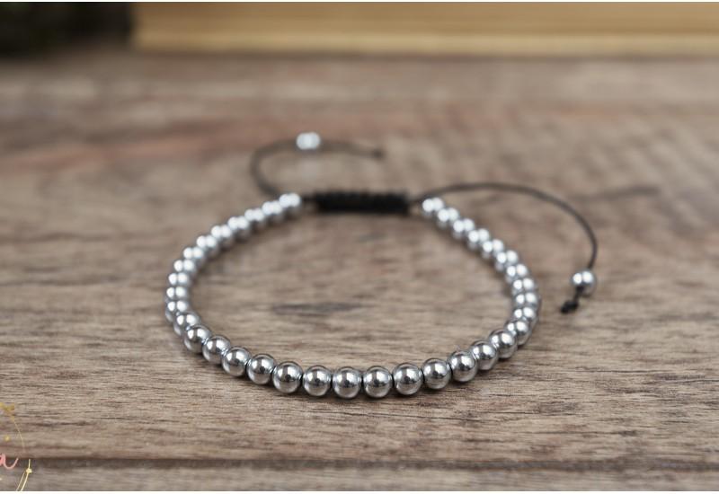 Silver Beaded Bracelet. Natural Stone Hematite Bracelet