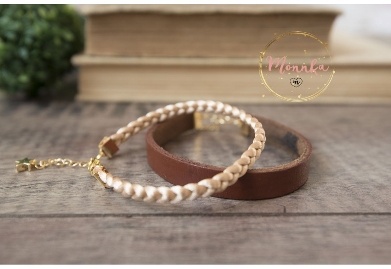 Brown Leather Bracelet, 14K Gold Plated Findings