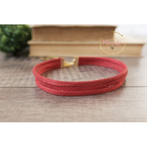 3 Three Strand Suede Leather Choker