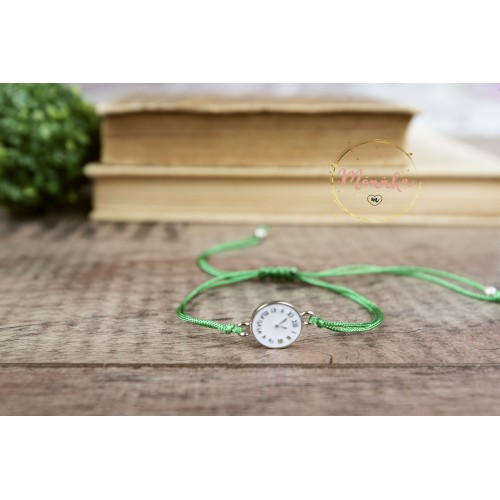 Clock Bracelet. Green String Bracelet