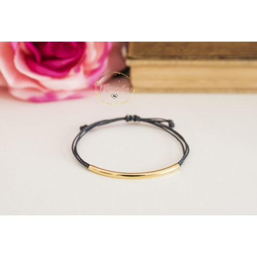 Gold Tube Bracelet. String Bracelet. 14k Gold Plated Layering, Friendship Bracelet