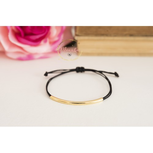 Gold Tube Bracelet. String Bracelet. 14k Gold Plated Layering, Friendship Bracelet