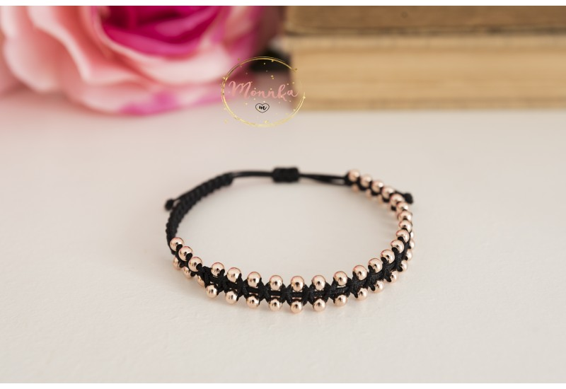 Wrap Beaded Bracelet with 14k Rose Gold Plated Beads