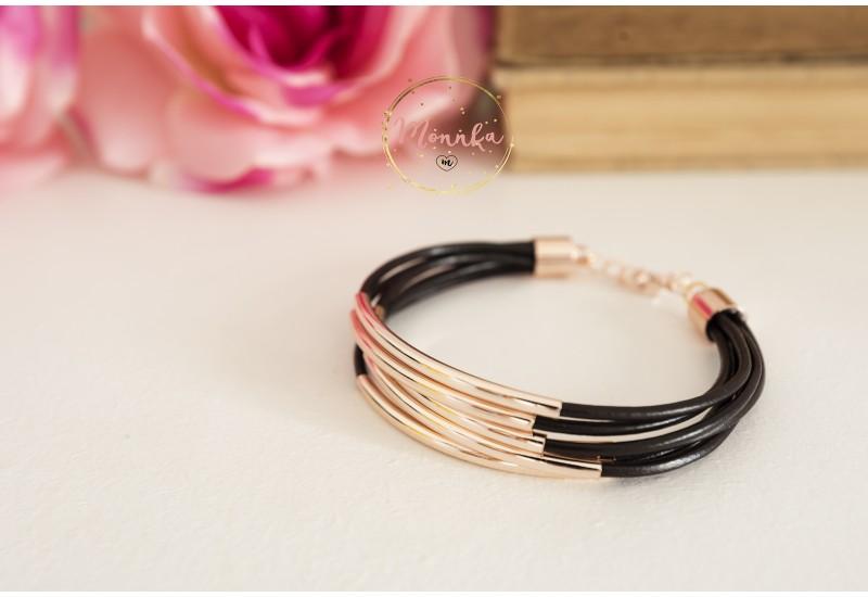 Tube Bracelet. Brown Leather Cuff. Multi Strand Rose Gold Tube Bangle Wrap Bracelet