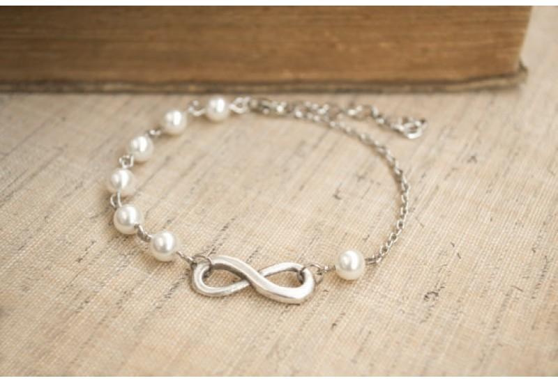 Infinity Bracelet. White Swarovski Pearl Bracelet. Friendship, Bridesmaid Gift. Dainty, Feminine. Infinity and Pearl Jewelry. Rhodium Plated