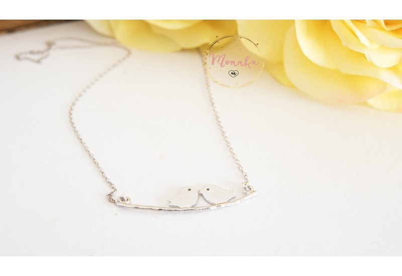 Bird Necklace. Sitting Bird Necklace. Two little Birds sitting on a Branch Necklace