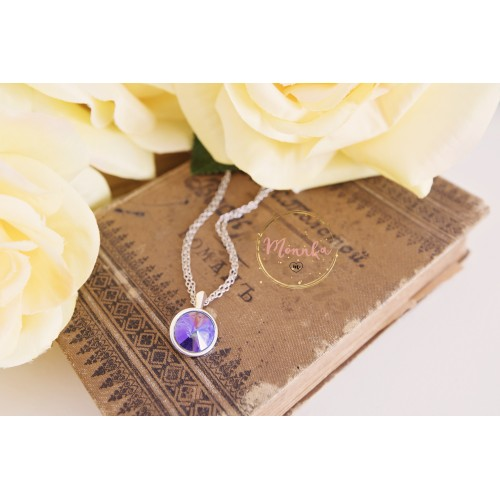 Purple Crystal Necklace. Sterling Silver Double Chain - AB Tanzanite Lavender