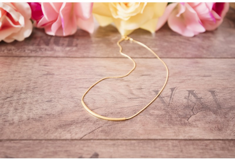 Tube Necklace, Gold Plated Tube Necklace, Tube Choker