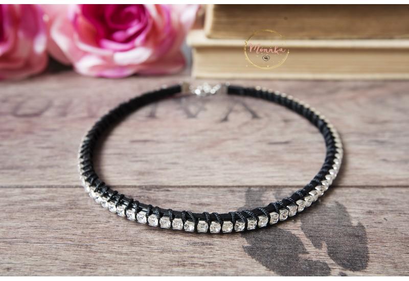 Crystal Rhinestone Leather Choker Necklace