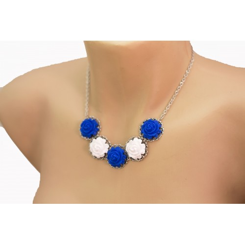 Floral Necklace. Polymer Clay White and Blue Roses
