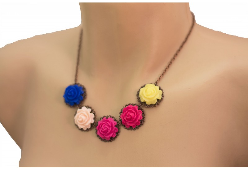 Floral Necklace. Polymer Clay Colorful Roses