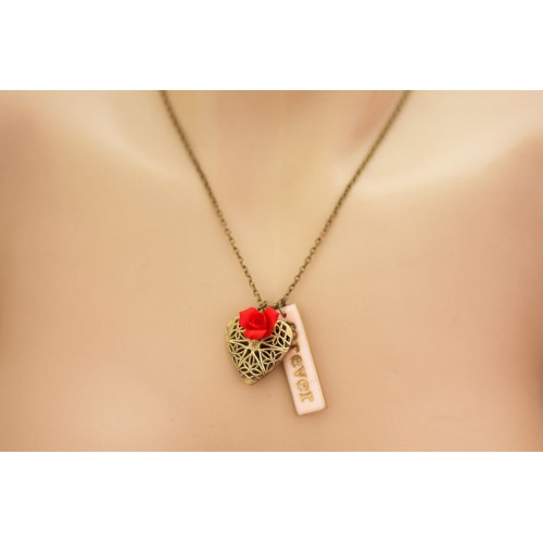 Custom Initial Locket Necklace. Personalized Jewelry. Antique Bronze Filigree Pendant. Custom Letter / Word Charm