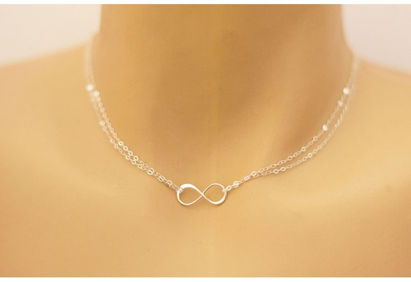 Infinity Necklace. 925 Sterling Silver Double Chain Infinity Choker