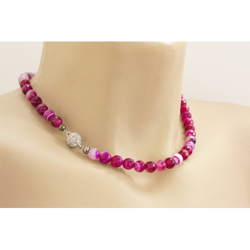 Natural Stone Strand Choker. Hot Pink Necklace