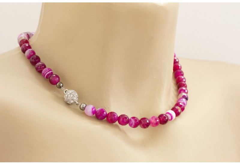 Natural Stone Strand Choker. Hot Pink Necklace