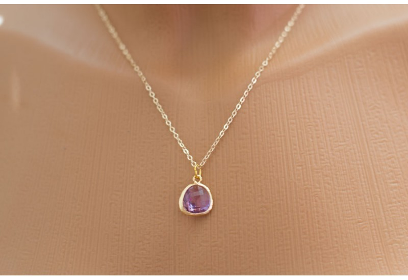 Dark Lilac Glass Drop Necklace, Bezel Set. Simple Daily Jewelry, Bridesmaid gift, Mothers Necklace. Wedding Jewelry 14k Gold Filled Chain