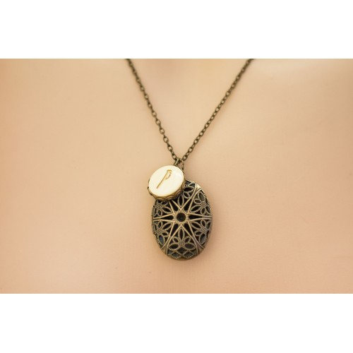 Custom Initial Locket Necklace. Personalized Jewelry. Antique Bronze Filigree Pendant. Custom Letter Charm