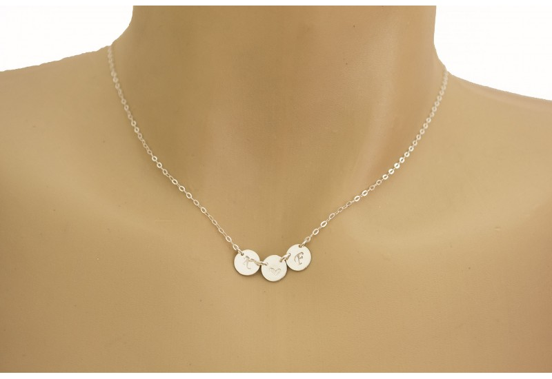 THREE Monogram Charm Necklace / Tiny Initial Disc Necklace