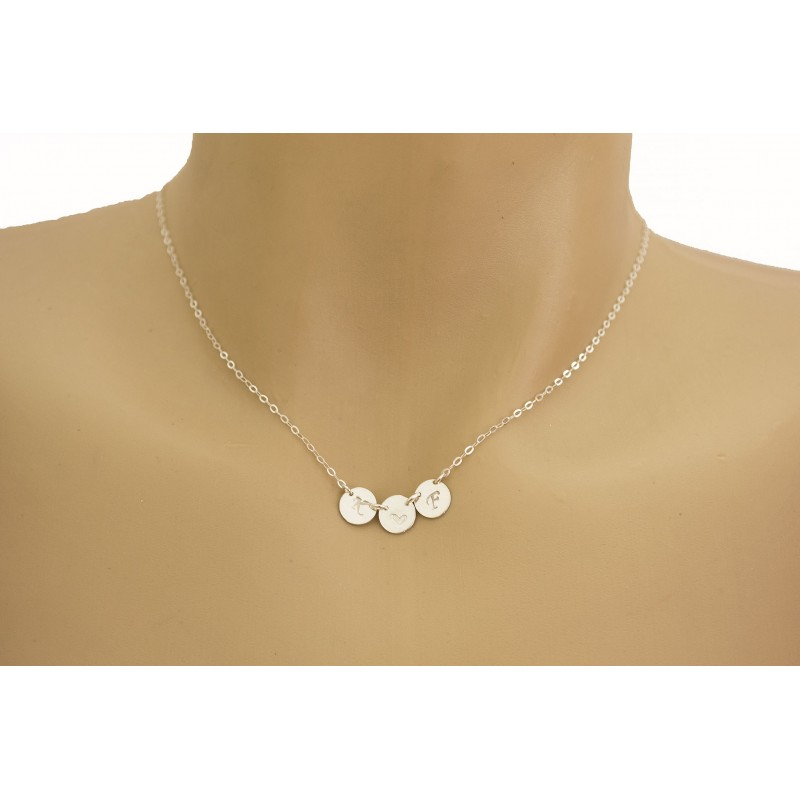 572a687941b31 THREE Monogram Charm Necklace / Tiny Initial Disc Necklace
