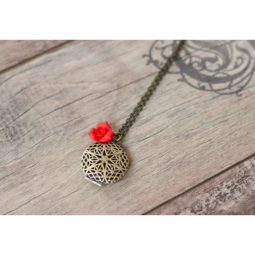 Locket Necklace. Antique Bronze Filigree Locket Pendant. Red Rose Charm