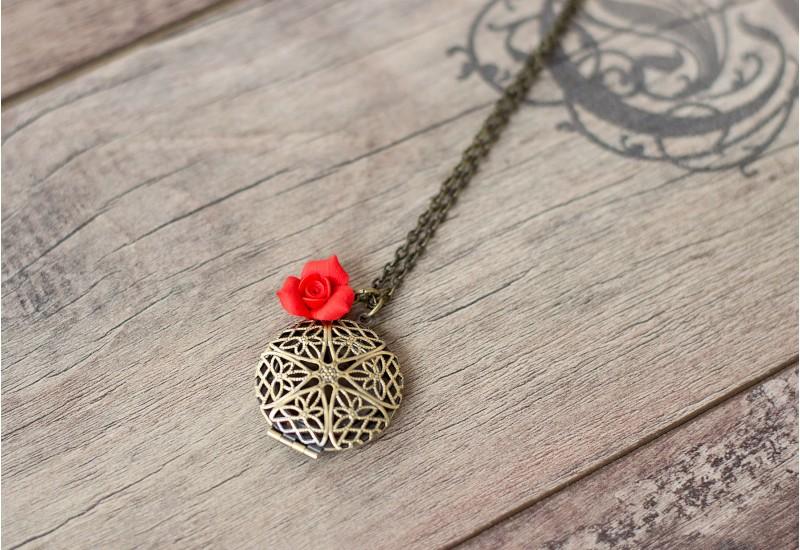 Locket Necklace. Antique Bronze Filigree Locket Pendant. Red Rose Charm