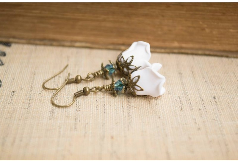 Polymer Clay White Rose Earrings