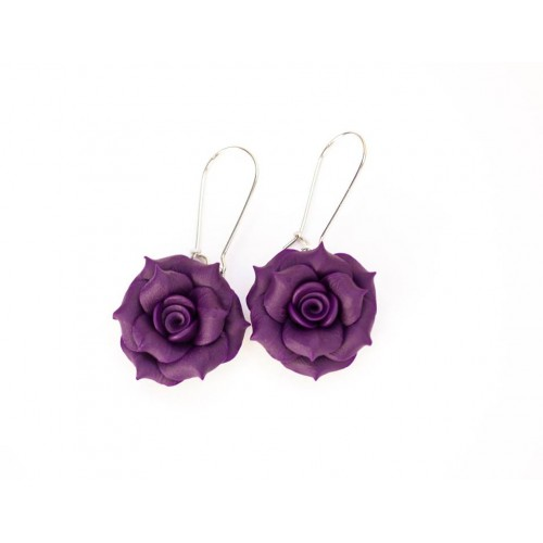 Polymer Clay Purple Rose Earrings