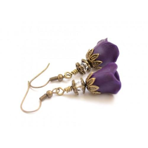 Polymer Clay Purple Rose Earrings