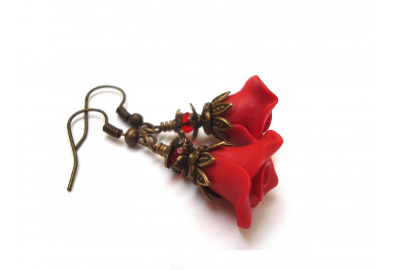 Polymer Clay Red Rose Earrings