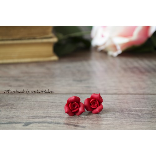 Rose Studs. Rosebud Rose Flower Studs. Polymer Clay Red Earrings