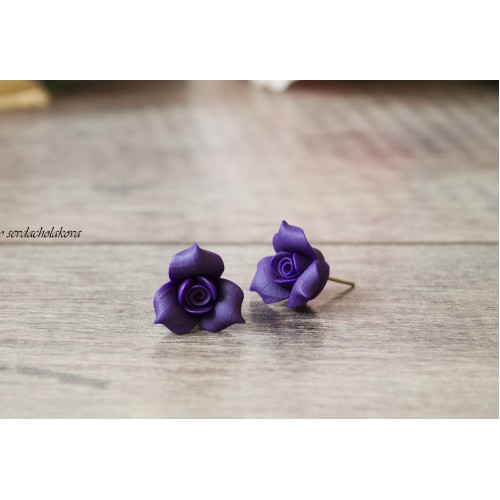 Rose Studs. Rosebud Rose Flower Studs. Polymer Clay Purple Earrings