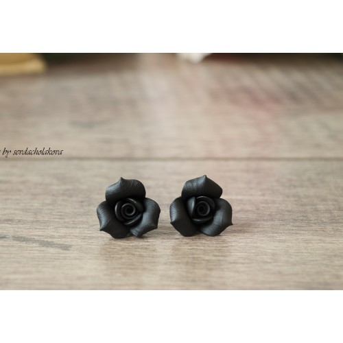 Rose Studs. Rosebud Rose Flower Studs. Polymer Clay Black Earrings