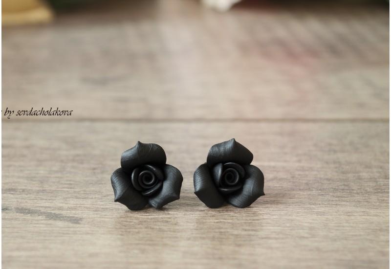 Rose Studs. Rosebud Rose Flower Studs. Polymer Clay Black Earrings