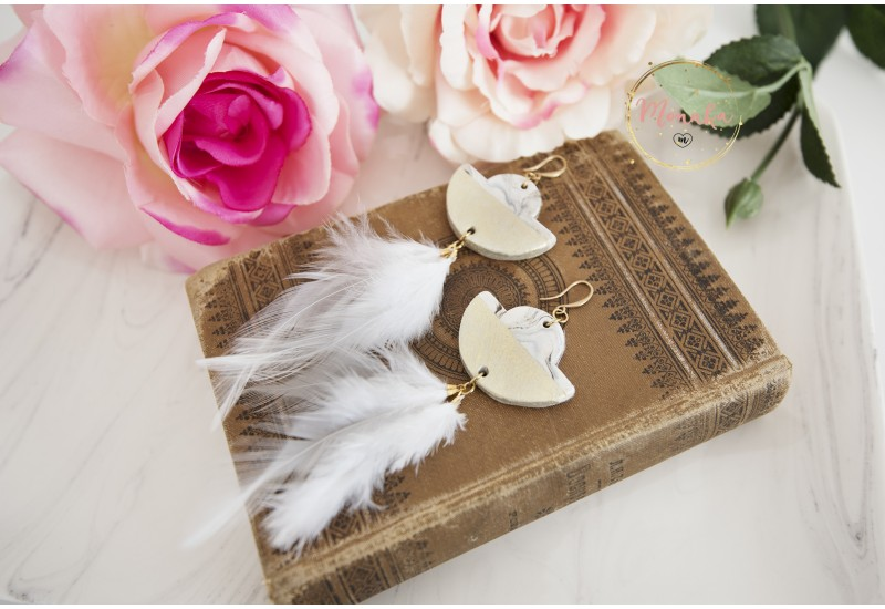 Polymer Clay Marble, White Feathers & Brass Earrings