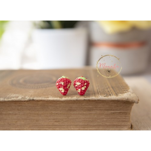 Strawberry Earrings.  Red Studs. Polymer Clay Earrings