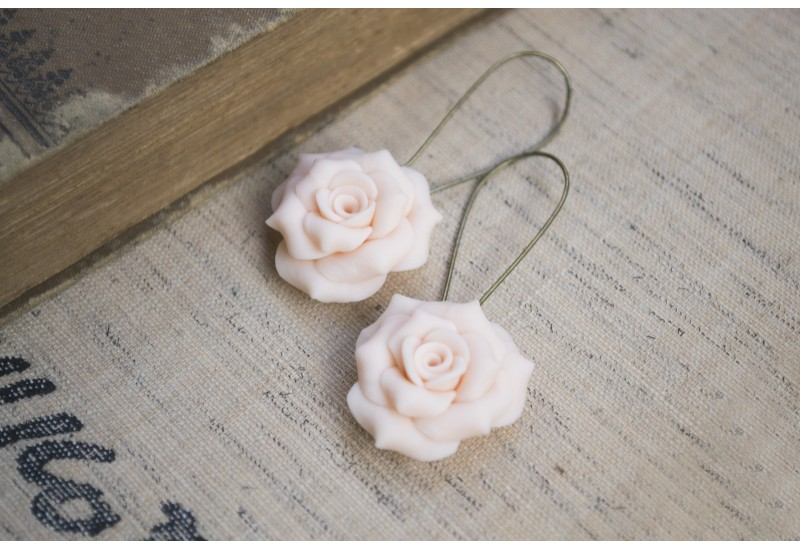 Polymer Clay Peach Rose Earrings