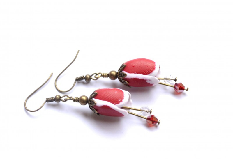 Polymer Clay Red Tulip Earrings