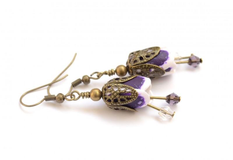 Polymer Clay Purple Tulip Earrings