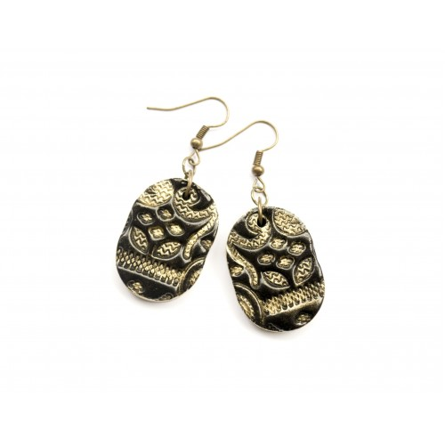 Polymer Clay Black and Gold Earrings