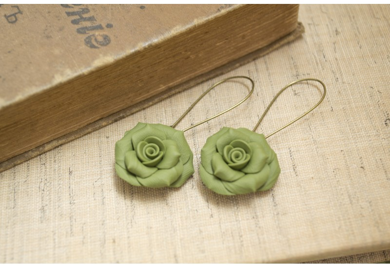 Polymer Clay Green Rose Earrings