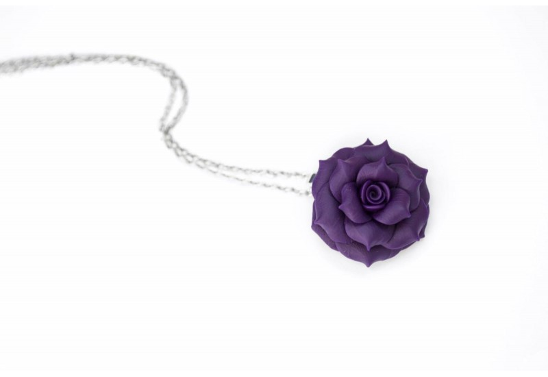 Polymer Clay Purple Rose Necklace