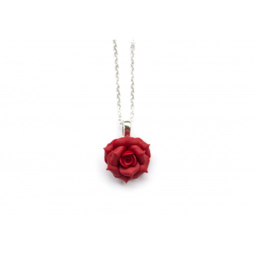Polymer Clay Red Rose Necklace