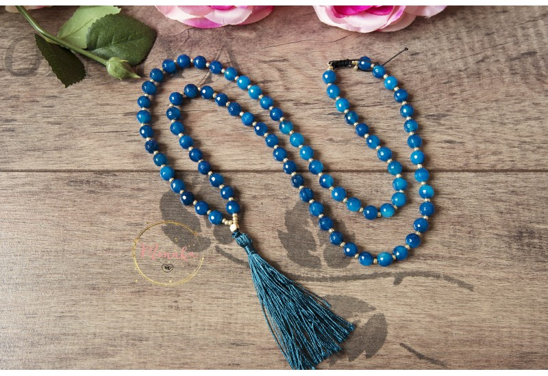 Blue Tassel Strand Necklace. Boho Long Natural Stone Necklace